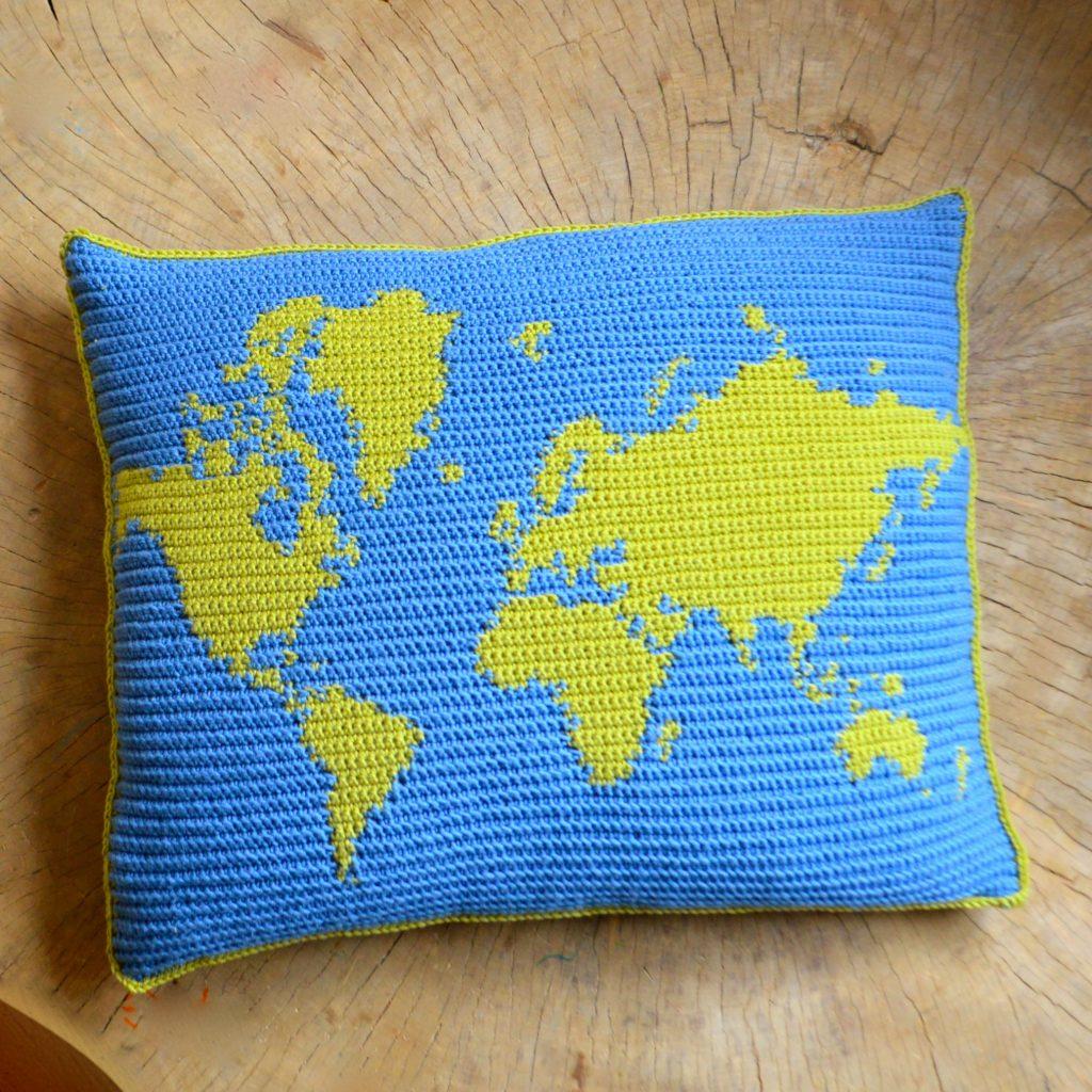 world map cushion crochet pattern